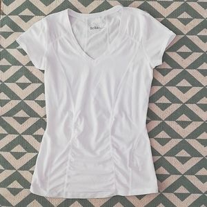 Zella White Side Ruched Tee Sz Small
